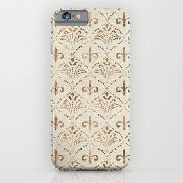 Elegant Fleur-de-lis pattern - pastel gold iPhone Case