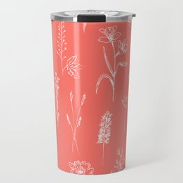 Patagonian wildflowers living Coral Travel Mug