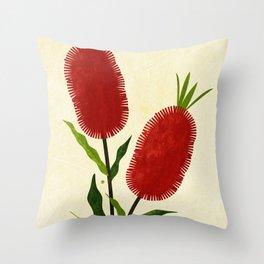 Australian Bottlebrush Red Flowers Throw Pillow