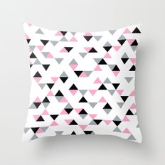 Triangles Black and Pink Throw Pillow