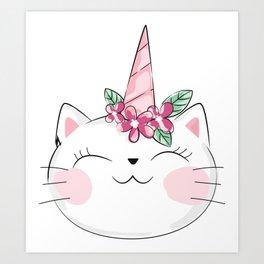 Unicorn Cat, Cat With Flower Wreath - Pink White Art Print
