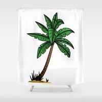 palm tree Shower Curtains featuring palm tree by Li-Bro