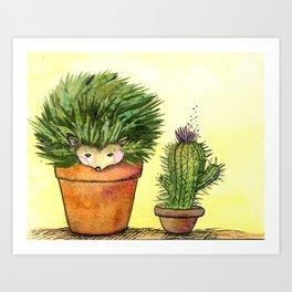 Cactus Hedgehog Collage Art Print