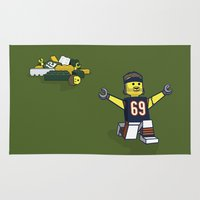 jared leto Area & Throw Rugs featuring Bears Bricked: Jared Allen by CheekyMonkeyArt