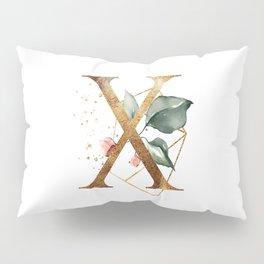 Golden ethereal floral monogram - X Pillow Sham