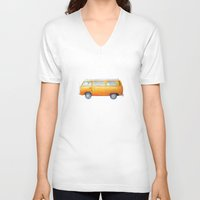 volkswagon V-neck T-shirts featuring VW Van by Camille Welsh