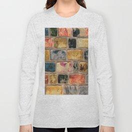 Multi-Colored Brick Wall Decorative Pattern Long Sleeve T-shirt