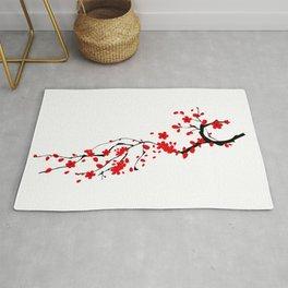 Japanese,sakura tree.Red cherry blossom flower. Rug