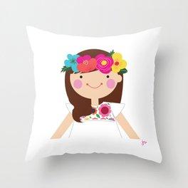 Brunette Floral Crown Girl Throw Pillow