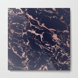 Modern chic navy blue rose gold marble pattern Metal Print