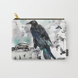 Blackwinged Birds Fly Past The Moonlit Raven's Eye Carry-All Pouch