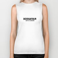 bookworm Biker Tanks featuring Bookworm by Wear You Clothing