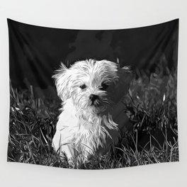maltese dog vector art black white Wall Tapestry