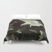sharks Duvet Covers featuring sharks by Lara Paulussen