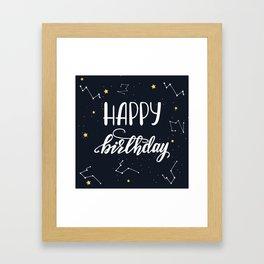 Happy Birthday lettering design Framed Art Print