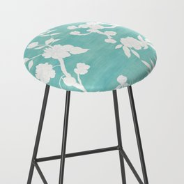 Chinoiserie Panels 3-4 White Scene on Teal Raw Silk - Casart Scenoiserie Collection Bar Stool
