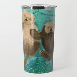 Otters Holding Paws, Floating in Emerald Waters Travel Mug