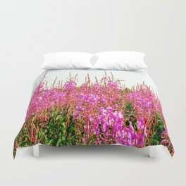 Field of lupins and wildflowers on Brier Island, Nova Scotia Duvet Cover