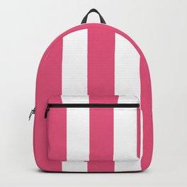 Dark pink - solid color - white vertical lines pattern Backpack