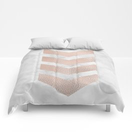 Rose gold chevrons on marble Comforters