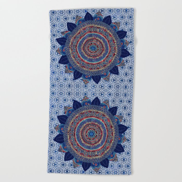 Baroque Lapis Mandala Beach Towel