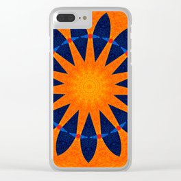 Blue flower petals with orange background Clear iPhone Case