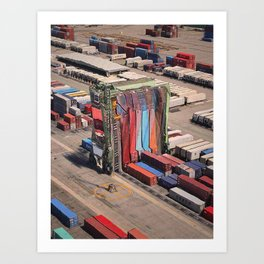 Container Drapes - Glitch in the docks Art Print