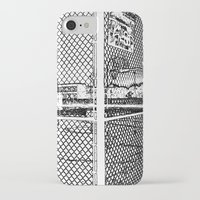 outdoor iPhone & iPod Cases featuring outdoor basketball court black and white by Dragonheart