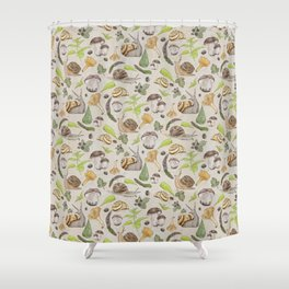 Woodland Snail in Watercolor Fungi Forest, Moss Green and Ochre Earth Animal Pattern Shower Curtain