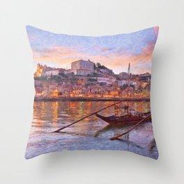Porto at dusk Throw Pillow