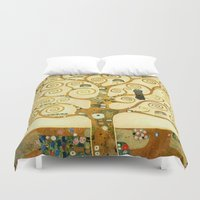 gustav klimt Duvet Covers featuring Gustav Klimt The Tree Of Life  by Art Gallery