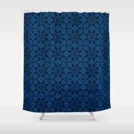 Lapis Blue Floral Pattern Shower Curtain