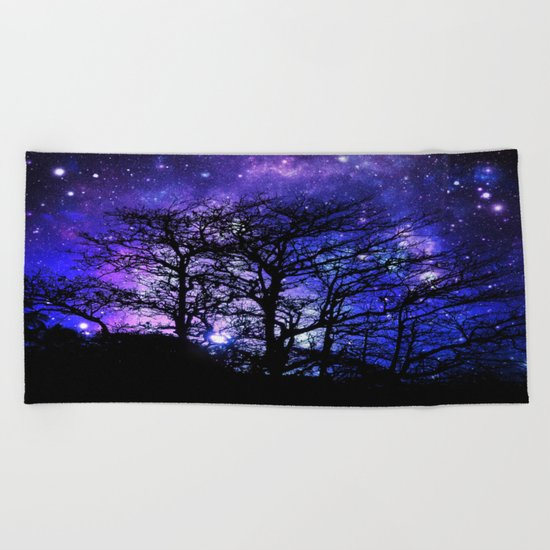 Black Trees Blue Violet Purple Space Beach Towel