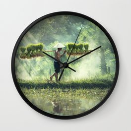 Indonesian Farmer Planting Rice Crop Wall Clock