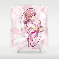 madoka magica Shower Curtains featuring Madoka Kaname - Yukata vers. (edit. 2) by Yue Graphic Design