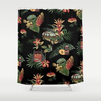 jurassic park Shower Curtains featuring Classic Jurassic by Josh Ln