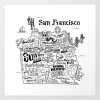 san francisco map Art Prints featuring San Francisco Map Illustration by Claire Lordon