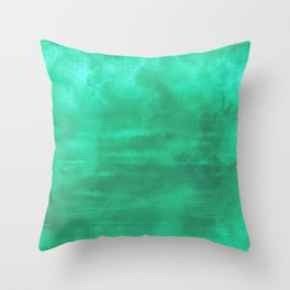 Burst of Color Teal Abstract Sponge Art Blend Texture Throw Pillow