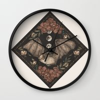 bat Wall Clocks featuring Bat  by Jessica Roux