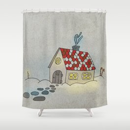Winter Evening in Tiny Gingerbread House Shower Curtain
