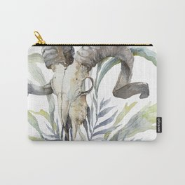 Short Day / Ram Animal Skull and Sarracenia Carnivorous Plant Platycerium Leaves Surreal Carry-All Pouch