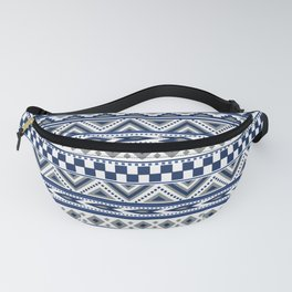Tribal Art Pattern Navy Blue Silver White Fanny Pack
