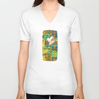 nouveau V-neck T-shirts featuring Nouveau Girl by Steve W Schwartz Art
