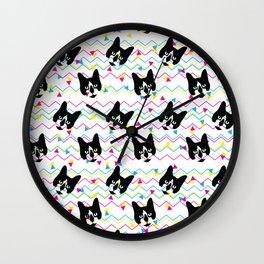 CMYK Cat Pattern Wall Clock