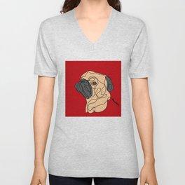 Pug Puppy One Line Art Unisex V-Neck