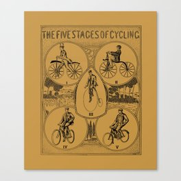 The five stages of cycling (bicycle history) Canvas Print