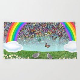 rainbow, butterflies, hedgehogs, & daisies Beach Towel