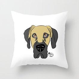 Faun Great Dane Face Throw Pillow