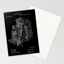 Vintage Camera Patent - White on Black Stationery Cards