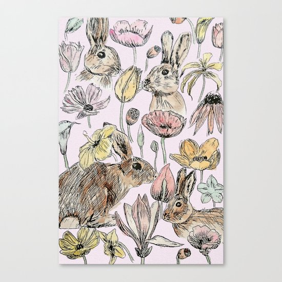 rabbits and flowers with color Canvas Print